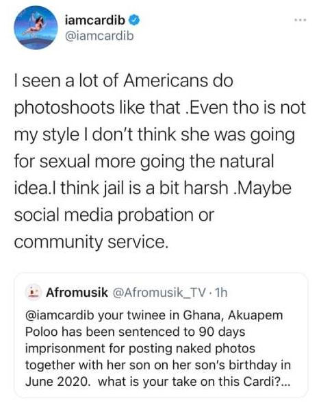 Cardi B finally reacts to Akuapem Poloos 90-day jail sentence over nude photoshoot with her son 1