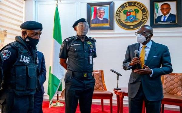 Governor Babajide Sanwo-Olu meets and commends Lagos policeman who was assaulted by traffic offender