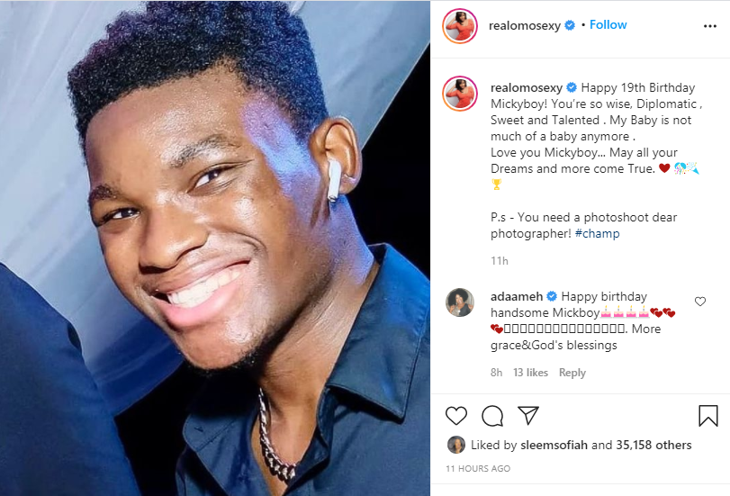 My baby is not much of a baby anymore - Omotola Jalade-Ekeinde celebrates her last child on his 19th birthday 1