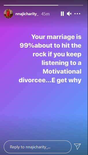 Your marriage will hit the rocks if you keep listening to motivational divorcees - Actress Nnaji Charity  1