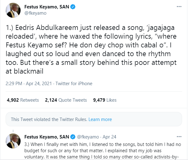 Twitter deletes some of Festus Keyamo's tweet calling out Eedris Abdulkareem