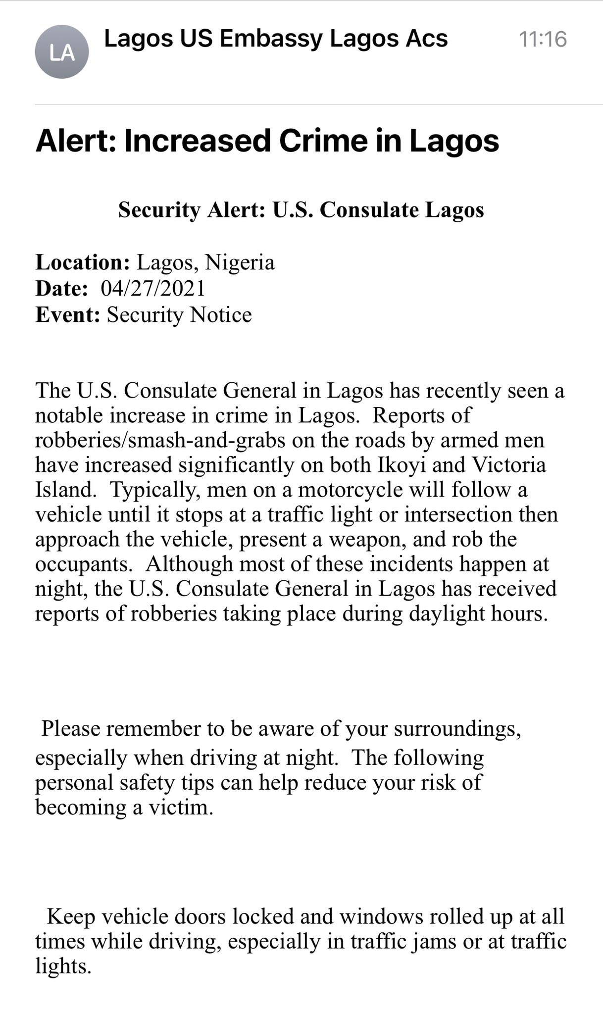 US Consulate issues security alert of notable increase in crime in Lagos 1