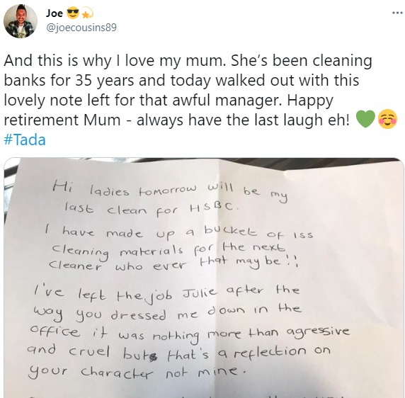"""""""You are all no better than the cleaner"""" Woman writes scathing note to her manager as she retires after 35 years working as a bank cleaner"""