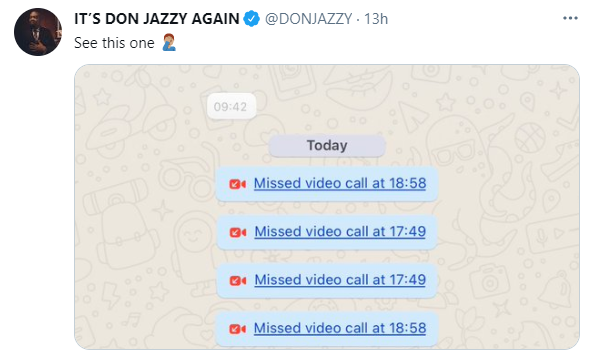Don Jazzy shares chat from a lady who repeatedly called him and asked him to send her money even if he doesn't want to hookup with her 1