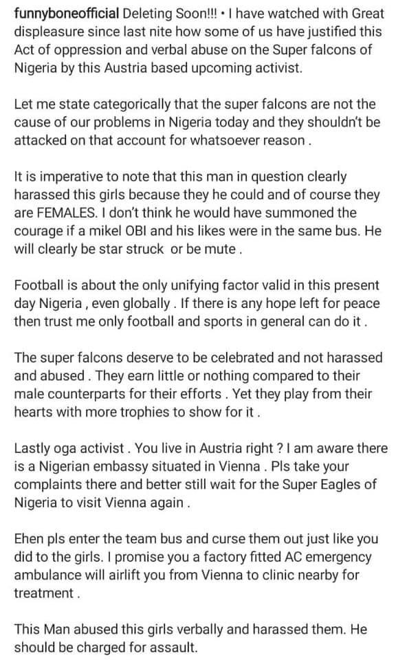 That man harassed them and should be charged for assault - Comedian Funnybone reacts to Super Falcon players being confronted in Austria by Nigerian man 1