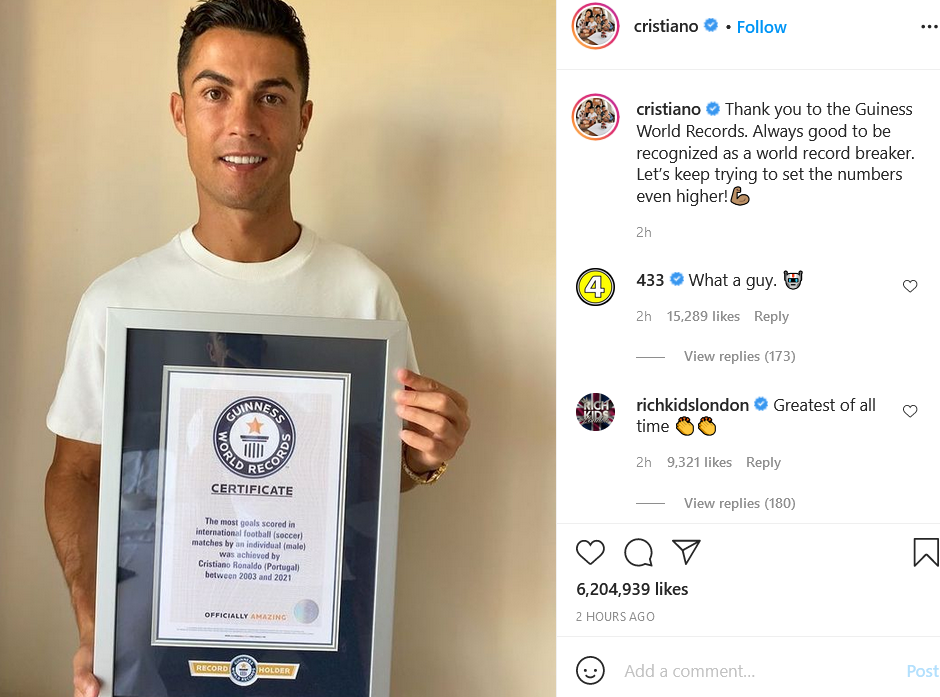 Cristiano Ronaldo poses with his Guinness World Record certificate for Most  Goals in International Football - Nigerian News Today