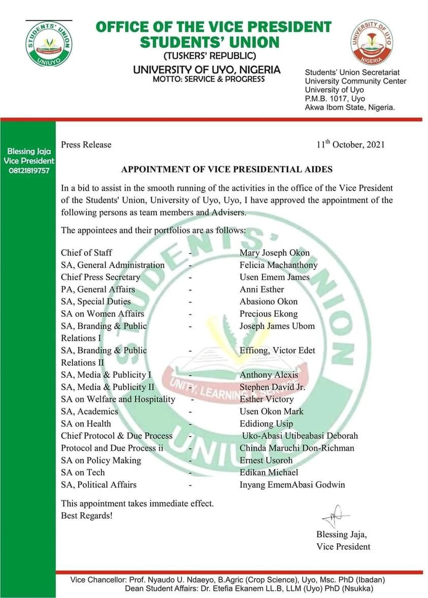 Uniuyo SUG Vice President appoints 18 aides 1