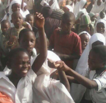 Photos: Primary school pupils stage protest over mass sack of their teachers by Kaduna state government