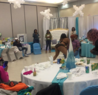 Lady takes her baby shower to a different level as she invites stripper to entertain her and her guests (video)