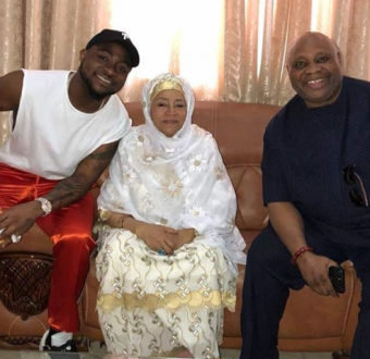 Davido and his uncle, Senator Ademola Adeleke, pictured with former first lady, Maryam Abacha