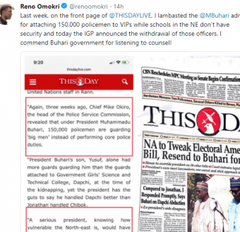 Reno Omokri commends President Buhari for listening to his advise