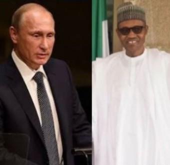 President Buhari salutes Vladimir Putin on his re-election as Russian president