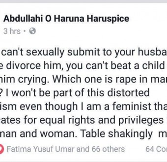Check out the outstanding reply a lady gave after some men on Facebook stated that rape in marriages doesn