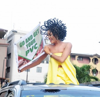 N40million hair model, Chika Lann's PVC campaign causes stir at Balogun Market