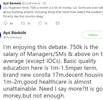 Twitter debate: Is N750k too small or too much to earn a month as a salary?