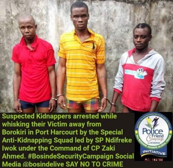 Three kidnappers arrested while whisking away their victim in Port Harcourt
