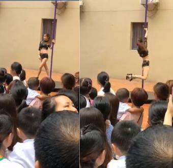 Kindergarten school hires sexy pole-dancers to welcome children back to school (Video)
