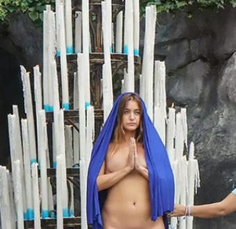 Shock as female artist strips completely naked at sacred Catholic site Lourdes in front of horrified believers (photo +18)