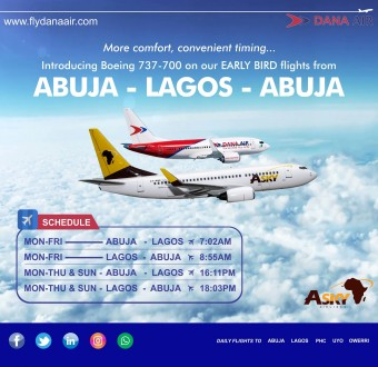 Dana Air adds Boeing 737- 700 aircraft to Fleet ….To commence 'early bird'' service from Abuja on 10th September