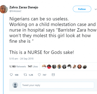 "Twitter stories: Nurse defends the molestation of a child because she is ""fine"""
