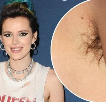 Bella Thorne shows off her armpit hair as she attends