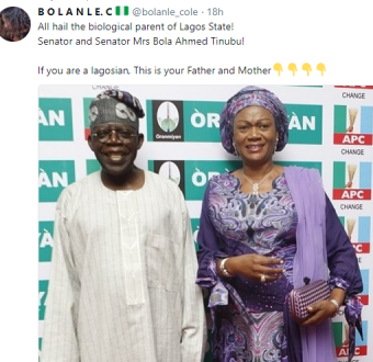 Twitter user says APC National leader, Bola Tinubu and his wife are the biological parents of Lagos state...lol
