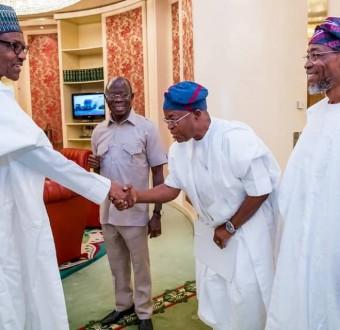 Photos: President Buhari receives Osun state governor-elect, Gboyega Oyetola, in the state house