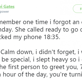 Man comes up with the perfect excuse to appease his girlfriend after he forgot to call her on her birthday