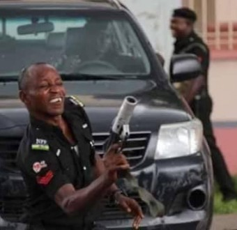 Trending photos of one of the police officers that fired teargas at Saraki, others in Abuja today