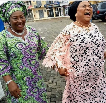Caption this photo of veteran Nollywood stars Patience Ozokwor and Sola Sobowale
