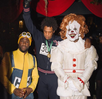 Kevin Hart, Jay-Z and Diddy pose for a photo in their Halloween costumes