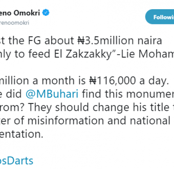 Reno Omokri calls Lai Mohammed a liar over his comment on El-Zakzaky