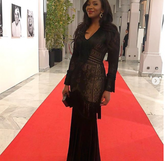 See the stunning dress actress Genevieve Nnaji rocked to the screening of her movie at Marrakech Film Festival in Morocco (Photos)