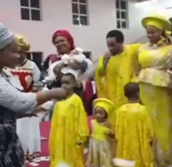 See trending video of church members spraying their pastor with Naira notes on the altar during church thanksgiving service in Onitsha
