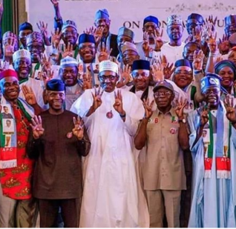 Caption this photo of President Buhari and his party members