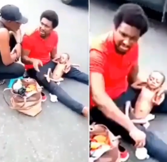 Heartbreaking video of a Nigerian dad weeping by the roadside with his sick child who has a heart disease
