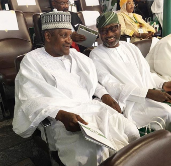 Photo of Dangote and Otedola at the inauguration ceremony of President Muhammadu Buhari and Professor Yemi Osinbajo in Abuja