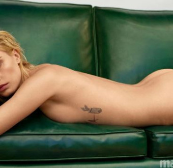 English supermodel, Cara Delevingne poses completely nude on the cover of Marie Claire magazine