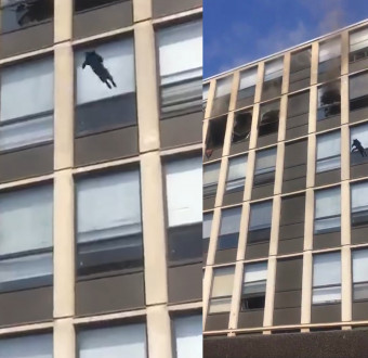Cat leaps from 5th floor of burning building in C... Image